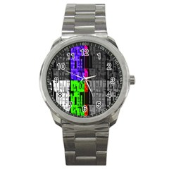 Repeated Tapestry Pattern Sport Metal Watch