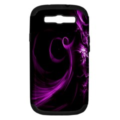 Purple Flower Floral Samsung Galaxy S Iii Hardshell Case (pc+silicone) by Mariart