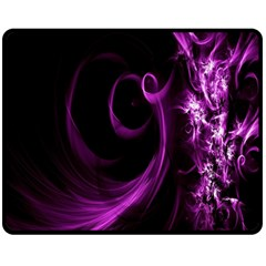 Purple Flower Floral Double Sided Fleece Blanket (medium)  by Mariart