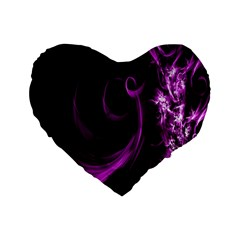 Purple Flower Floral Standard 16  Premium Flano Heart Shape Cushions by Mariart