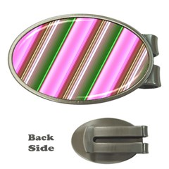 Pink And Green Abstract Pattern Background Money Clips (oval)  by Nexatart
