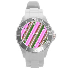 Pink And Green Abstract Pattern Background Round Plastic Sport Watch (l) by Nexatart