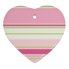 Turquoise Blue Damask Line Green Pink Red White Ornament (heart) by Mariart