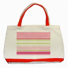 Turquoise Blue Damask Line Green Pink Red White Classic Tote Bag (red) by Mariart