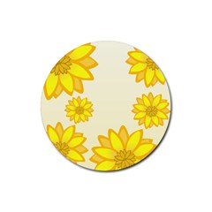 Sunflowers Flower Floral Yellow Rubber Round Coaster (4 Pack)  by Mariart