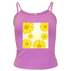 Sunflowers Flower Floral Yellow Dark Spaghetti Tank by Mariart