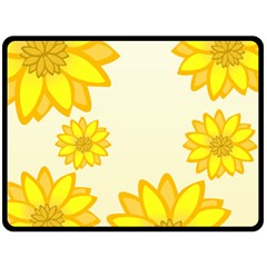 Sunflowers Flower Floral Yellow Fleece Blanket (large)