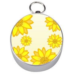 Sunflowers Flower Floral Yellow Silver Compasses by Mariart