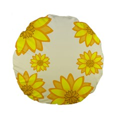 Sunflowers Flower Floral Yellow Standard 15  Premium Flano Round Cushions by Mariart
