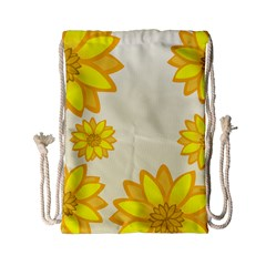 Sunflowers Flower Floral Yellow Drawstring Bag (small) by Mariart