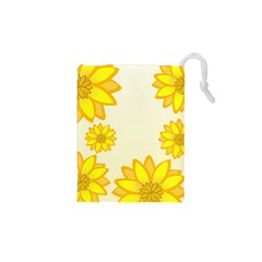 Sunflowers Flower Floral Yellow Drawstring Pouches (xs)