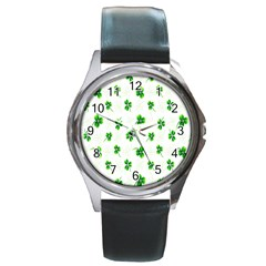 Leaf Green White Round Metal Watch by Mariart