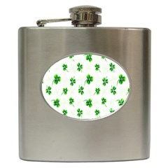 Leaf Green White Hip Flask (6 Oz) by Mariart