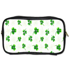 Leaf Green White Toiletries Bags 2 Side by Mariart