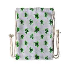 Leaf Green White Drawstring Bag (small) by Mariart