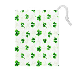 Leaf Green White Drawstring Pouches (extra Large)