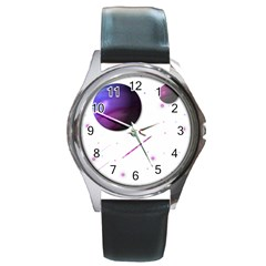 Space Transparent Purple Moon Star Round Metal Watch by Mariart