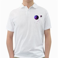 Space Transparent Purple Moon Star Golf Shirts