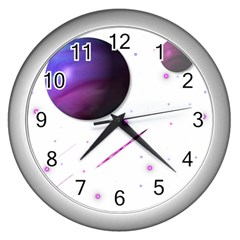 Space Transparent Purple Moon Star Wall Clocks (silver)  by Mariart
