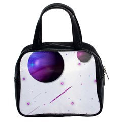 Space Transparent Purple Moon Star Classic Handbags (2 Sides) by Mariart