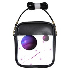 Space Transparent Purple Moon Star Girls Sling Bags by Mariart