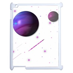 Space Transparent Purple Moon Star Apple Ipad 2 Case (white) by Mariart