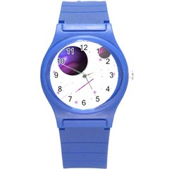 Space Transparent Purple Moon Star Round Plastic Sport Watch (s) by Mariart