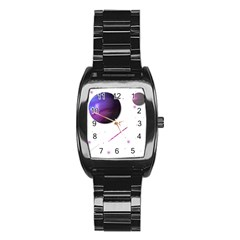 Space Transparent Purple Moon Star Stainless Steel Barrel Watch by Mariart