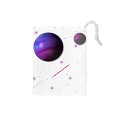 Space Transparent Purple Moon Star Drawstring Pouches (small)  by Mariart
