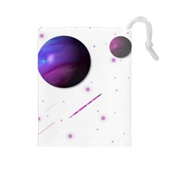 Space Transparent Purple Moon Star Drawstring Pouches (large)  by Mariart
