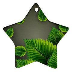 Leaf Green Grey Ornament (star) by Mariart