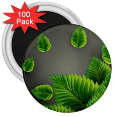 Leaf Green Grey 3  Magnets (100 Pack) by Mariart