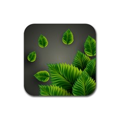 Leaf Green Grey Rubber Square Coaster (4 Pack)  by Mariart