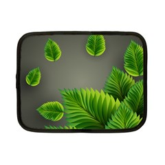 Leaf Green Grey Netbook Case (small)  by Mariart