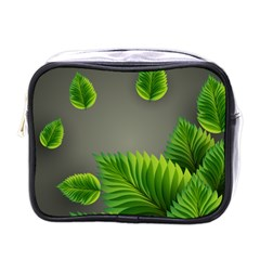 Leaf Green Grey Mini Toiletries Bags by Mariart