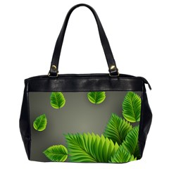 Leaf Green Grey Office Handbags (2 Sides)  by Mariart