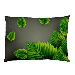 Leaf Green Grey Pillow Case (two Sides) by Mariart