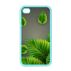 Leaf Green Grey Apple Iphone 4 Case (color) by Mariart