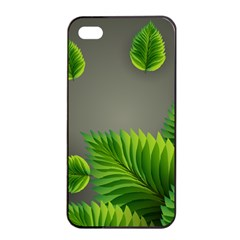 Leaf Green Grey Apple Iphone 4/4s Seamless Case (black) by Mariart