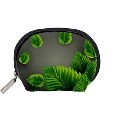 Leaf Green Grey Accessory Pouches (small)  by Mariart
