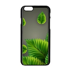 Leaf Green Grey Apple Iphone 6/6s Black Enamel Case by Mariart