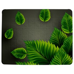 Leaf Green Grey Jigsaw Puzzle Photo Stand (rectangular) by Mariart