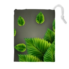 Leaf Green Grey Drawstring Pouches (extra Large)