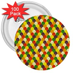 Flower Floral Sunflower Color Rainbow Yellow Purple Red Green 3  Buttons (100 Pack)  by Mariart