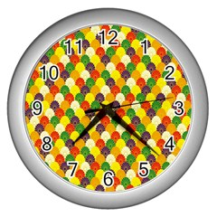 Flower Floral Sunflower Color Rainbow Yellow Purple Red Green Wall Clocks (silver)  by Mariart