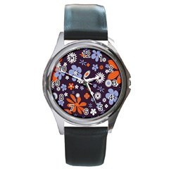 Bright Colorful Busy Large Retro Floral Flowers Pattern Wallpaper Background Round Metal Watch by Nexatart