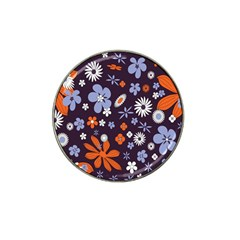 Bright Colorful Busy Large Retro Floral Flowers Pattern Wallpaper Background Hat Clip Ball Marker by Nexatart