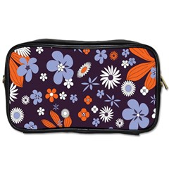 Bright Colorful Busy Large Retro Floral Flowers Pattern Wallpaper Background Toiletries Bags 2 Side