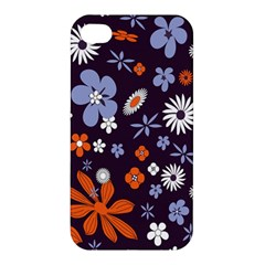 Bright Colorful Busy Large Retro Floral Flowers Pattern Wallpaper Background Apple Iphone 4/4s Hardshell Case by Nexatart