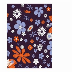 Bright Colorful Busy Large Retro Floral Flowers Pattern Wallpaper Background Small Garden Flag (two Sides) by Nexatart